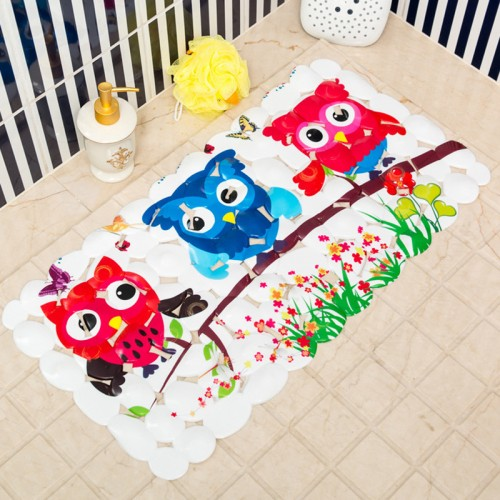 Cartoon Owl Pattern PVC Bath Mats Bathroom Non Slip Shower Mat