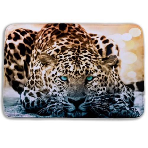 Hot selling 3D Bath rufs Cartoon animal Snow Leopard toilet mats microfiber memory foam bath mat