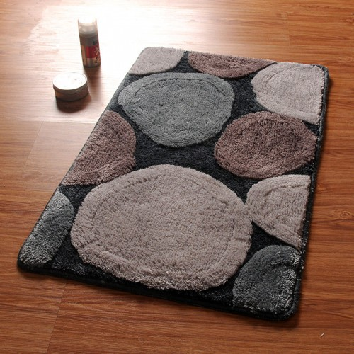 Stone Pattern Bathroom Bath Mat Machine Wash 1 PCS Anti Slip Bathroom Mat Rug In The