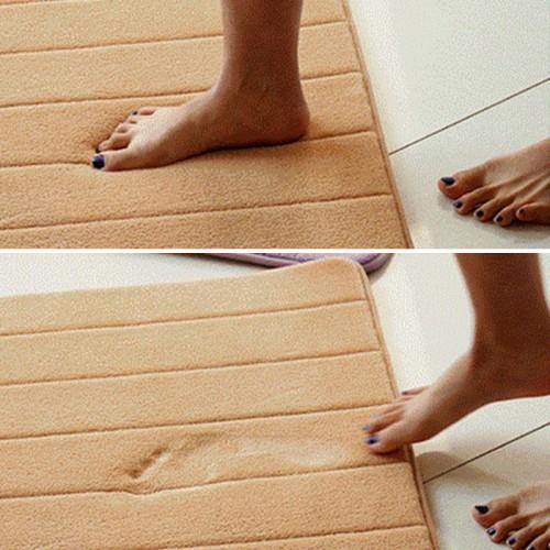 Water absorb Floor Bath Mat Toilet Room Memory Foam Coral Fleece Anti Slip