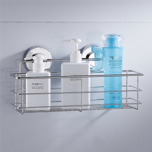 New Stainless Steel Suction Cups Bath Shelves Wall Towel Washing Shower Basket Bar Shelf With Hooks