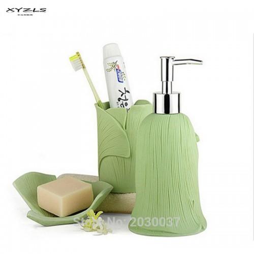 Resin Bathroom Accessories Solid Color Gingko Leaf Pattern Bath Set Lotion Dispenser Toothbrush