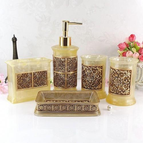 Resin bathroom set five pieces set of bathroom supplies kit wedding gift toiletries