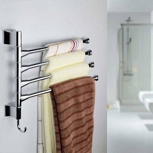 Stainless Steel 3 4 Bars Rotating Bathroom Towel Bar With 1 Hooker Bathroom Shelf Towel Racks