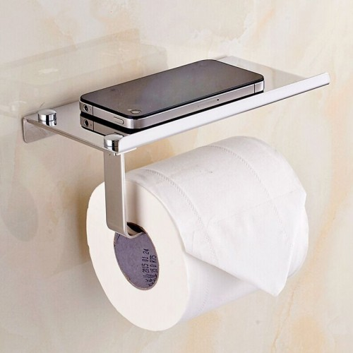 Stainless Steel Roll Paper Mobile Phone Holder with Shelf Towel Rack