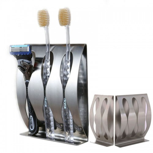 Stainless Steel Three Position Self Adhesive Toothbrush Holder