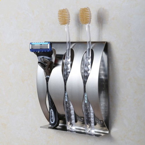 Stainless steel wall mount toothbrush holder 3 position Self adhesive tooth brush shelf Organizer bathroom accessories