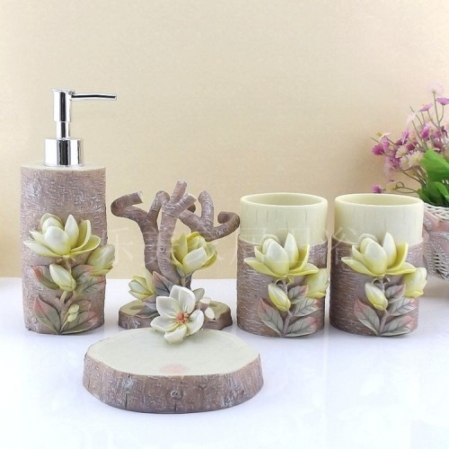 Toothbrush Holder Bathroom Set Lemei Resin Five Piece Bathroom