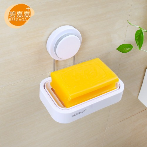 Wall Mounted Strong Sucker Soap Box for Bathroom Accessories Stainless Steel Holder with White Plastic