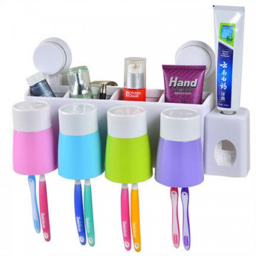 Wall Suction Toothbrush Holder Wall Toothbrush Holder Tumbler Set brushing Cup with sucker automatic toothpaste dispenser