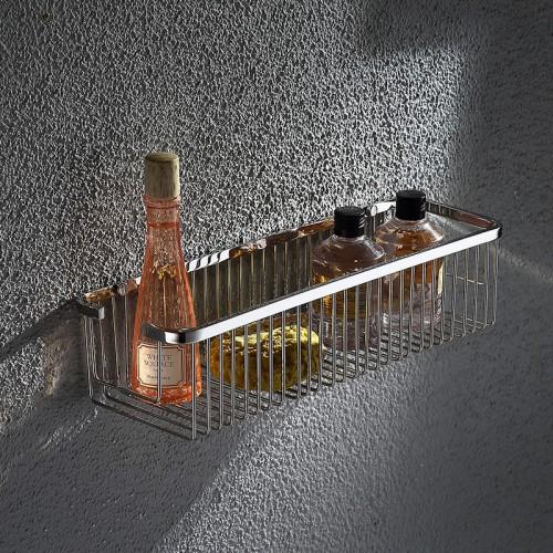 stainless steel bathroom basket single tier shower room wall bathroom shelf solid basket