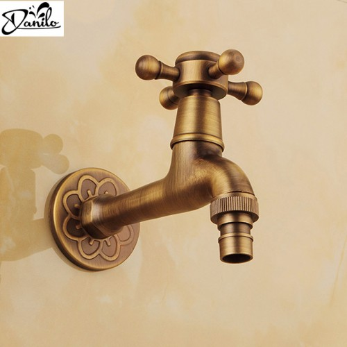 Luxury Decorative outdoor Bibcock Garden faucet tap Antique Brass Finish Bathroom Wall Mount Washing Machine Water