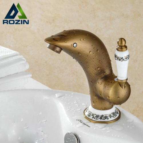 Multiple Style Bathroom Vanity Sink Faucet Brass Antique Basin Mixer Tap Deck Mounted Single Hole