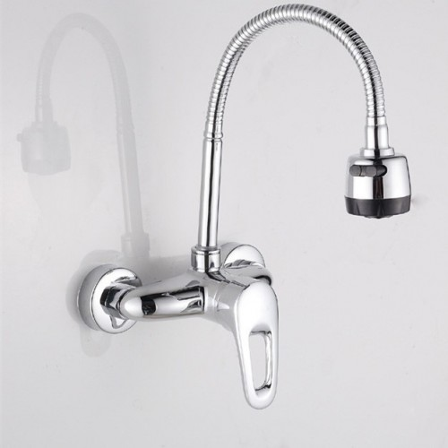Popular single handle dual hole kitchen faucet with wall mounted kitchen mixer of hot cold kitchen