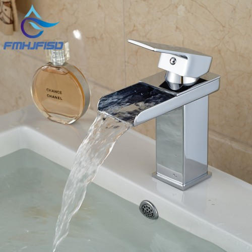 Promotion Chrome Brass Waterfall Bathroom Basin Faucet Square Vanity Sink Mixer