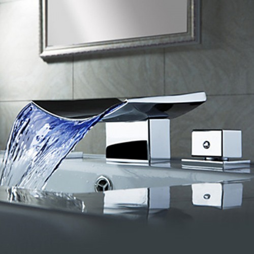 Superfaucet Bathroom Faucet Waterfall LED Waterfall Faucet Sink Faucet Waterfall Water Tap LED Temperature Controlled