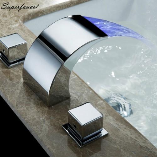 Superfaucet Temperature Controlled Faucet Water Tap Bathroom Waterfall Faucet Bathroom Faucets LED Faucet HG 1182DC
