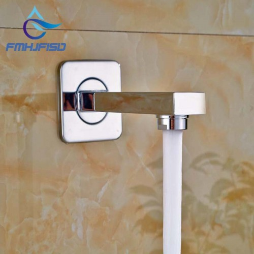 Wall Mounted Bathroom Tub Spout Square Faucet Spout Chrome Finish Brass