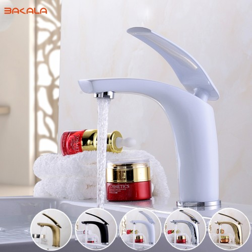 White Color Tall Short Bathroom Faucet Bathroom Basin Mixer Tap with Hot and