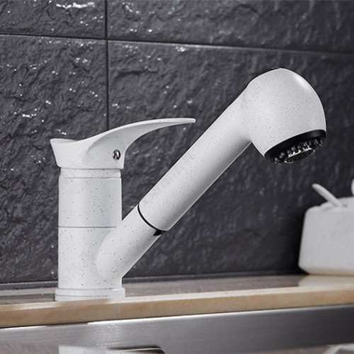 white color pull out kitchen sink faucet with single handle single hole bathroom basin sink mixer