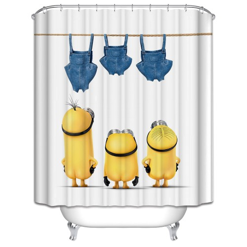 New 3D Shower Curtains Cartoon small yellow people Printing Waterproof Washable Thickened Bathroom Curtains 12 C