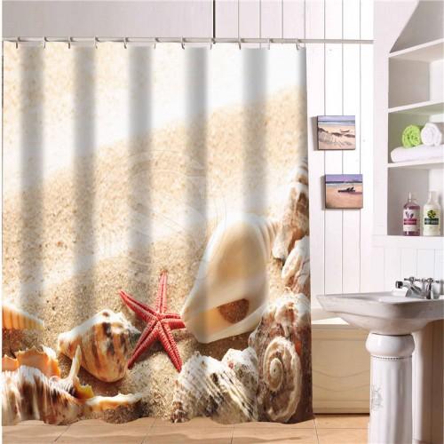 New Classical Waterproof Bath Curtains Modern Beach shells and starfish Shower Curtain 66 x72 Inch Bathroom