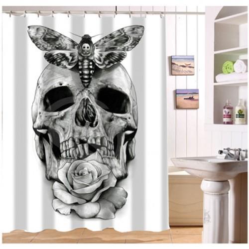 New Custom Black white Skull Tattoo Shower Curtain Modern Design bath decor Waterproof curtains