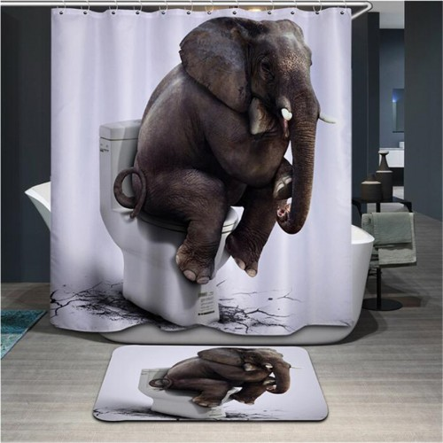 New High Quality Cartoon Printed Elephent Polyester Shower Curtain Waterproof Home Bathroom Curtains 3D thicken shower
