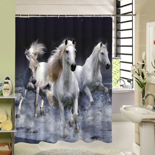 New Waterproof Horse Shower Curtain Washable