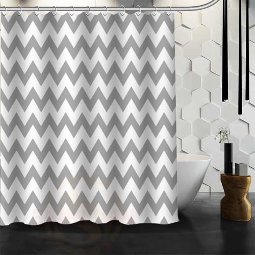 New arrive Custom classic chevron Shower Curtain Polyester Fabric Custom Bathroom Curtain with Hooks Free Shipping
