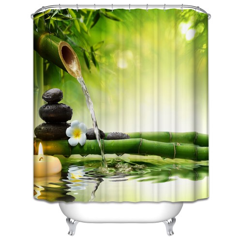Orchid shower curtain 3d bath curtain hooks polyester fabric Christmas scenery green forest vintage waterproof bathroom
