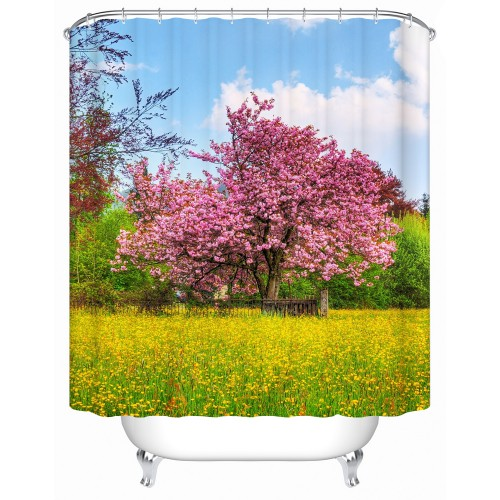 Pink Flowers Open In The Trees Shower Curtains Bathroom Curtain Acceptable Custom Waterproof Shower Curtains