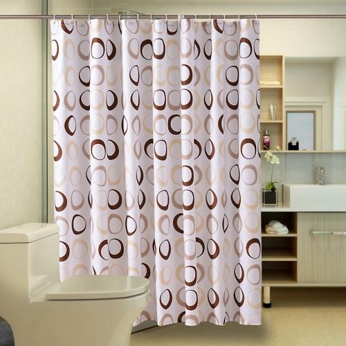Popular Bathroom Curtains Coffee Big Circle Sea Life Waterproof Shower Curtain Fabric Polyester Bath curtains with
