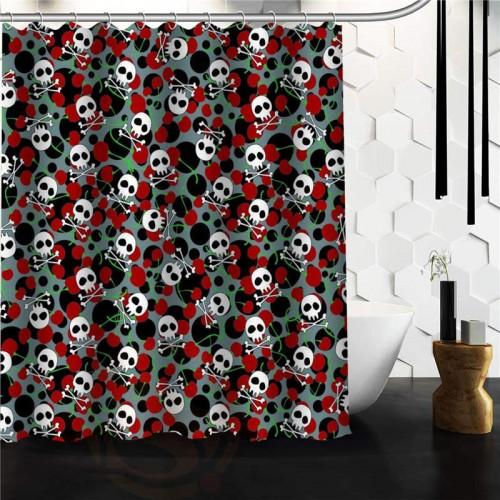 Popular Flowers Sugar Skull Shower Curtain Custom Bath Curtains Bathroom decor on sale