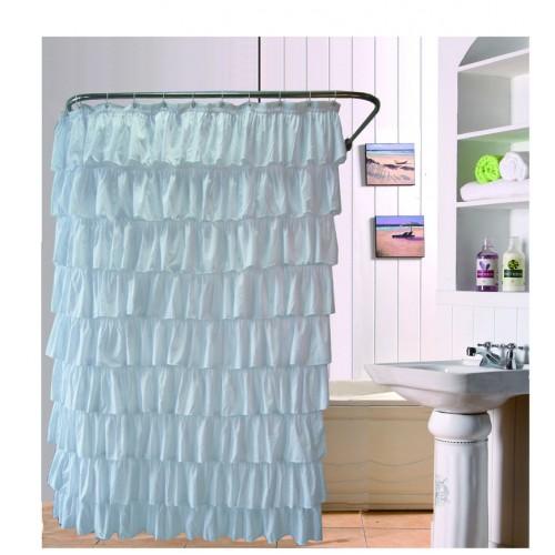 Ruffles Shower Curtain Polyester Waterproof Bathroom Bath Curtain Screen Office Drape Partition Wall Purdah
