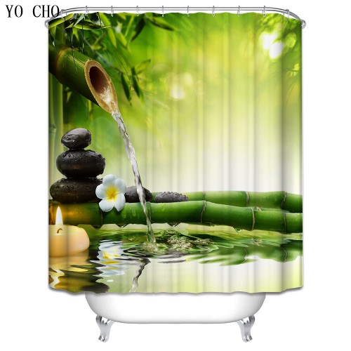 Scenery Beach Waterproof Shower Curtain Stone Bamboo Bathroom Products Polyester Fabric Washable Fishing Bath Curtain