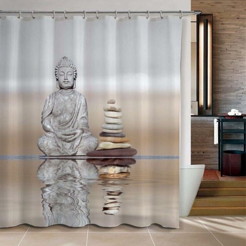 Shower Curtain Buddha Pebble Reflection Design Bathroom Waterproof Mildewproof Polyester Fabric With 72 Inch 12 Hooks
