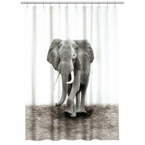 Shower Curtain Natural World Elephant Design Shower Bathroom Waterproof Mildewproof Polyester Fabric With 72 Inch 12