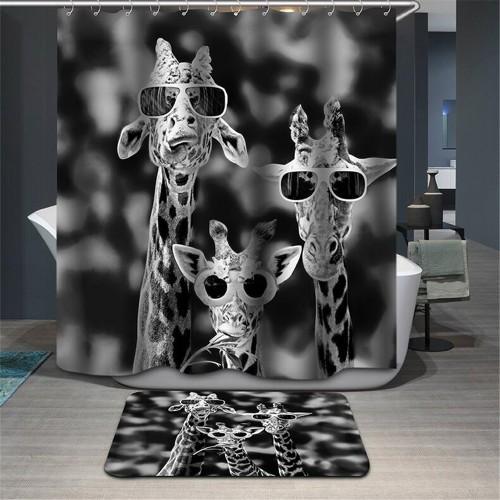Shower Curtain giraffe bath Curtain animal penguin Fabric 3d WaterProof rabbit deer panda cartoon curtain for
