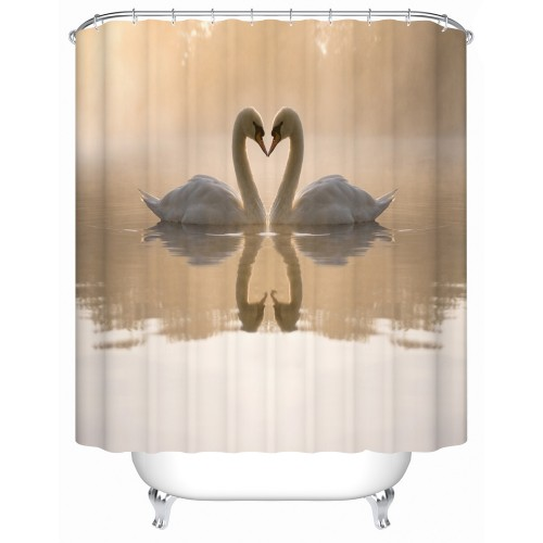 Shower Curtains Bathroom Curtain Two Beautiful Swan In The Lake on The Shower Curtain High quality