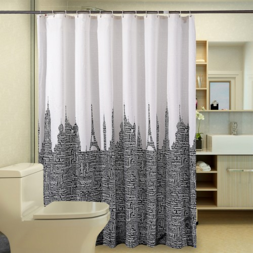 Waterproof Bathroom Curtains White Black Polyester Shower Curtain Letters Tower Modern Fabric Customized bath curtain