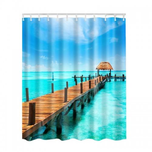 Waterproof Shower Curtain Bathroom Decor Blue Ocean Seaside Scenery Sunset Waves Lakeview
