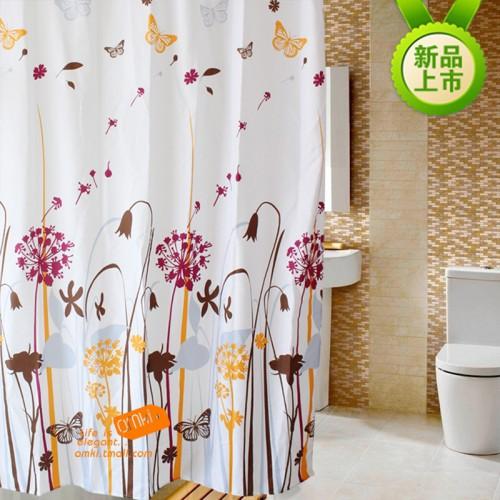 Waterproof Shower Curtain Polyester Bathroom Curtains Dandelion Pattern