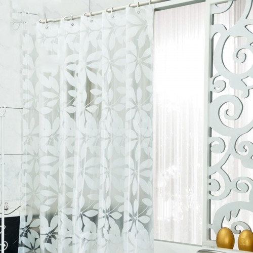 Waterproof Shower Curtains Bathroom White Simple Design Hooks Protection Apple Pattern Hot