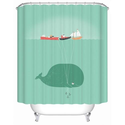 Whale Waterproof Shower Curtain Bathroom Curtain Eco Friendly Bathroom Products Shower Curtains