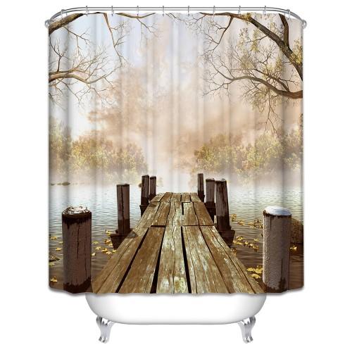 Wood Shower Curtain Custom Wood art Home Decor European Style 3D Multi Size bathroom bath curtain