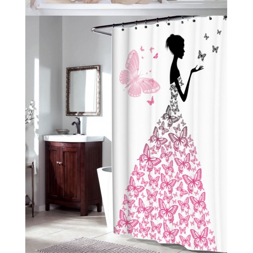 ZHH Waterproof Shower Curtain with Hooks Butteryfly Girl Bathroom Curtains High Quality Bath Bathing Sheer for