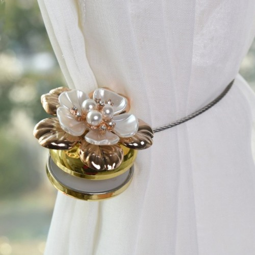 1pc Flower Wire Curtains Magnet Curtains Buckle Magnetic Curtain Holder Strap Accessories.