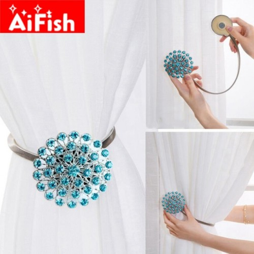 Fashion Eco friendly Colorful Creative Crystal Diamond Magnet Curtain Clasp Ribbon Curtain Accessories Curtain Holder Clips.
