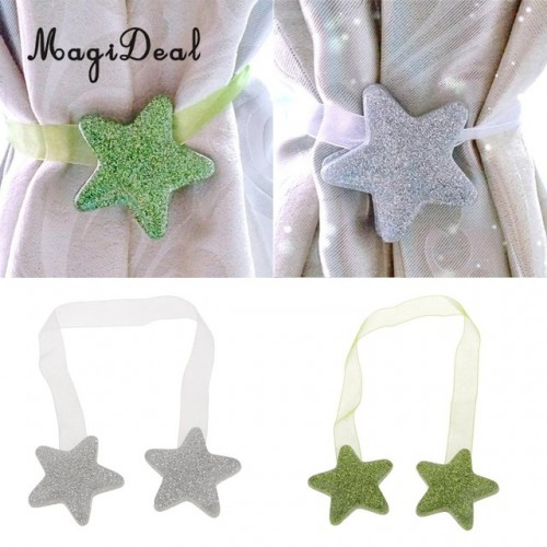 MagiDeal Curtain Buckle Magnetic Tie Back Holder Star Curtain Broach Home Room Curtain Decoration.